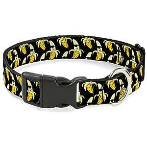 """带扣式 9-15 英寸生动香蕉小袋堆叠塑料夹领 香蕉皮涂鸦/太阳镜 黑色/黄色 1.5"""" Wide - Fits 16-23"""" Neck - Medium"""