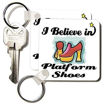 3dRose I Believe In Platform Shoes - 钥匙链,5.72 x 11.43 厘米,2 件套 (kc_105481_1)