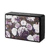 BALAYAGE 柔软黑色粉色花卉图案瑜伽砖,轻质 EVA 泡沫*环保材料(秘密花园(1包))