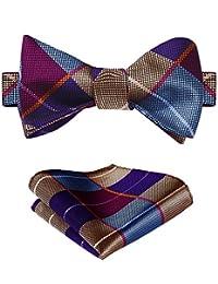 SetSense Men's Plaid Jacquard Woven Self Bow Tie Set