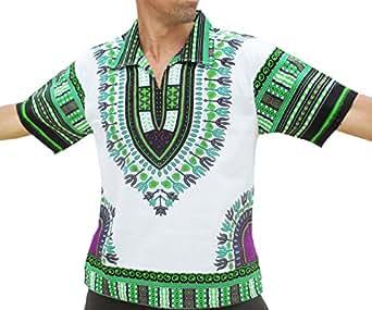 RaanPahMuang 品牌欧洲领短袖衬衫非洲白长颈鹿艺术 绿色 Small