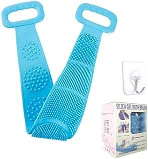 淋浴后用去角质 洗脸刷 适用于淋浴 硅胶背部擦洗 易于清洁的背部刷子 适用于女士男士淋浴 持久(蓝色)