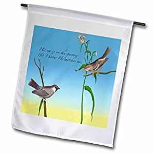 777 images Designs 基督教 – HIS EYE IS ON THE SPARROW , gospel hymn illustrated 带2个 sparrows – 旗帜 12 x 18 inch Garden Flag