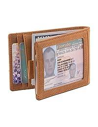 Bonanza 配件 RFID 屏蔽真皮修身双折简约前口袋钱包 适用于男士,带钱夹