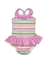 i play. by green sprouts 女童连体泳衣,内置可重复使用的游泳尿布  粉色波浪条纹 6 Months