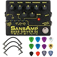 Tech 21 SansAmp 低音驱动器 DI V2 捆绑带 3 条接插线和 Dunlop 多样拾音器套装