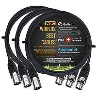 3 单元 - 5 英尺 - Gotham GAC-4/1(黑色) - 星形四,双屏蔽平衡公对母麦克风电缆带安酚 AX3M 和 AX3F 银色 XLR 连接器 - 由 WORLDS BEST 电缆定制