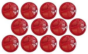 6 件套橙色 3 个隔层 25.40 cm 盘子 - 3.18 cm 深 - 不含 BPA - 可用洗碗机清洗 - 可用于微波炉 - 可放入冰箱清洗 红色