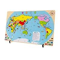 木马智慧 激光切割加厚防变形世界地图拼图玩具(送收纳袋)21143