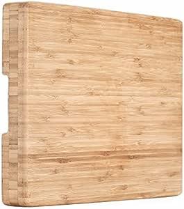 """有机竹制 [ HEIM CONCEPT ] 切割板和公用托盘,带滴槽,超大 [ 45.72 x 30.48 厘米 - 2.54 厘米 厚 ] 环保厚实结实优质竹制厨房用品 棕色 17"""" x 12"""" x 2"""" COMINHKG113134"""