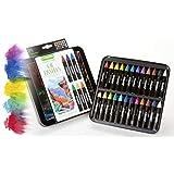 Crayola 油画蜡笔套装带装饰盒,水溶性,非常适合水彩效果,24 种颜色