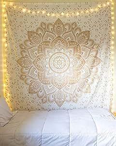 Jaipurhandloom 花朵渐变曼德拉挂毯嬉皮嬉皮风墙挂毯印度曼荼罗毯波西米亚挂毯沙发罩海滩毯子装饰墙艺术 金色和白色 Twin (54 X 85 inches approx)