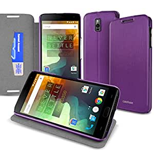 CaseBase 超薄优质对开式保护套带翻转支架适用于 New OnePlus TwoPWCB1PLUS2PPL 紫色