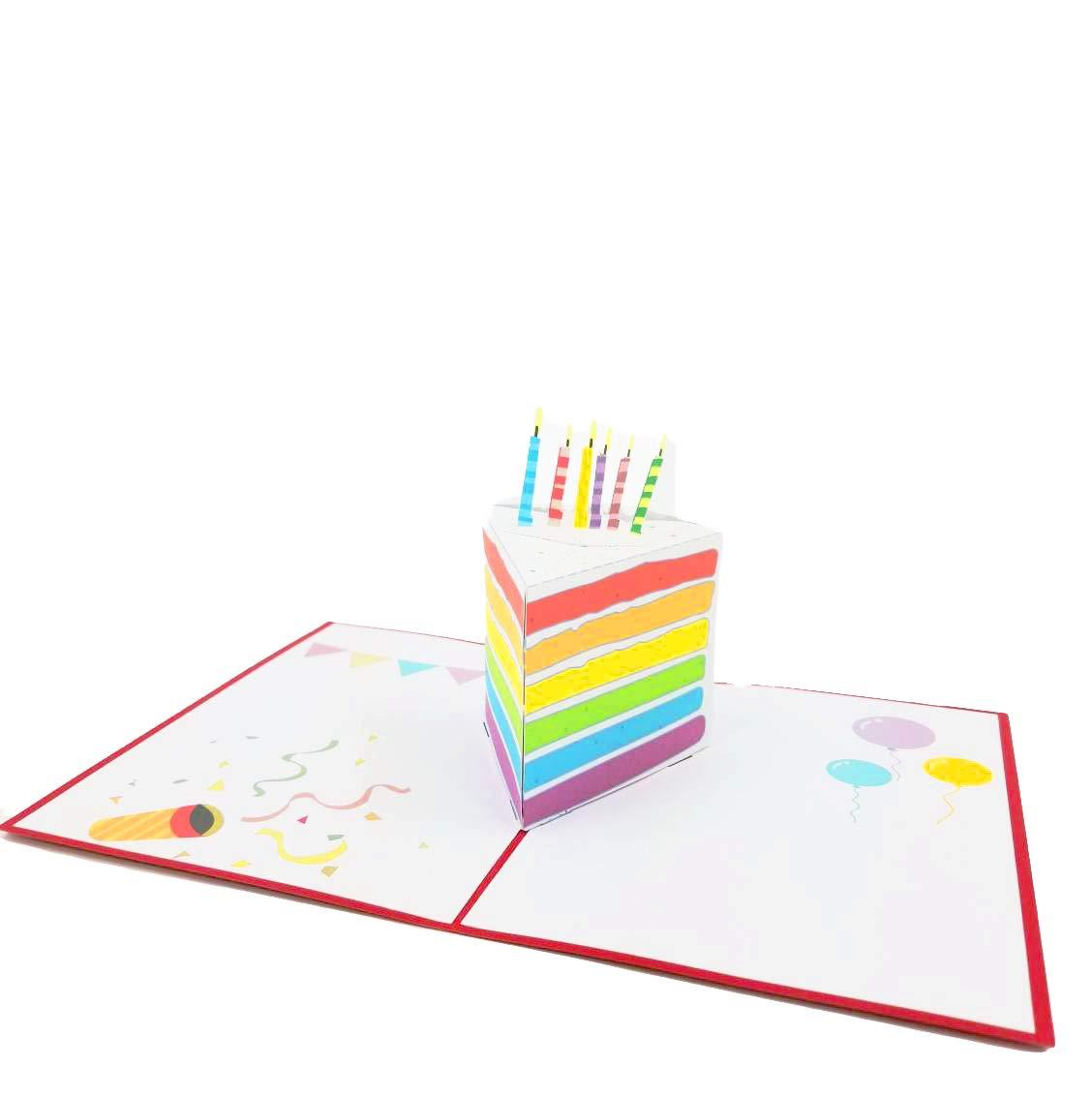 3D 生日蛋糕弹出式贺卡 - 快乐生日卡,蛋糕弹出式生日卡,父亲节,母亲节,庆祝,祝,祝  流行卡片快递