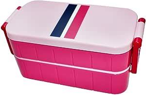 2层饭盒条纹 ベビーピンク