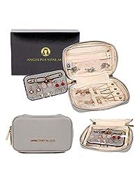 Angelina's 宫廷珠宝收纳盒旅行包伴娘礼物小盒项链耳环手镯戒指 珍珠灰色
