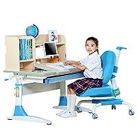 SINGAYE心家宜 人体工学儿童学习桌椅套装 多功能写字台 100*60厘米 M112+M207+M614高端书架 蓝色【包安装】客服热线:400-811-7883【亚马逊自营,供应商发货】