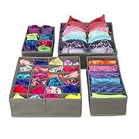 Sorbus 4 个装可折叠抽屉隔板、储物箱、衣柜收纳袋、床下收纳袋 灰色 DOK4-GRYA