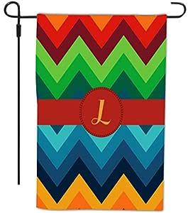 Rikki Knight 锯齿形图案上印有字母 L 字母,装饰房屋或花园全出血旗,30.48 x 45.72 厘米