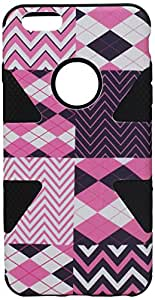 HR Wireless Dynamic Slim Hybrid Cover Case for iPhone 6 Plus - Retail Packaging - Hot Chevron/Black