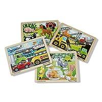 Melissa & Doug 木制拼圖套組:交通工具、寵物、施工車和農場(4張拼圖)
