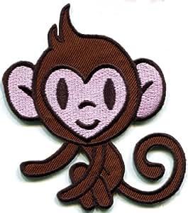 猴子 Ape Chimp 动物复古贴花熨烫补丁免运费,无限制! S-295 免费送货