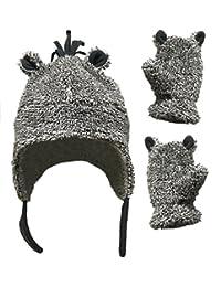 N'Ice Caps 男童和婴儿夏尔巴内衬羊毛帽手套套装带耳朵