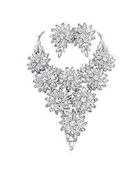 SP Sophia 系列奥地利水晶雏菊花花花瓶项链和耳环套装 银色