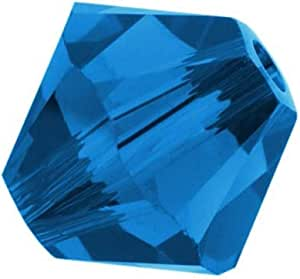 Adabele 奥地利双锥体水晶珠适用于施华洛世奇水晶 Preciosa 耳环手镯项链魅力珠宝工艺制作 Capri 蓝色 8mm