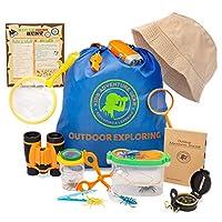 儿童户外探险套装-20 件装捕虫器和探险家套装-双筒望远镜-罗盘-放大镜-捕虫器套装+容器 蝴蝶网和背包 -STEM 礼品套装露营、徒步旅行、男孩和女孩