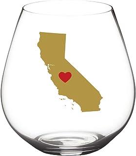 State -of- WIne 不易破损酒杯可用洗碗机清洗   套装   优雅塑料无柄酒杯   共聚酯纤维   可重复使用   送给德克萨斯州加利福尼亚州的理想礼物 California   Red Heart
