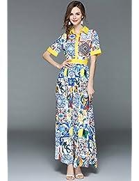 夏装欧洲站女装时尚印花收腰大摆型修身长裙连衣裙