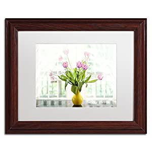Trademark Fine Art Pink Tulips in The Window Artwork by Lois Bryan, 11 by 14-Inch, White Matte with Wood Frame