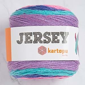 3 Skein Kartopu 运动衫多色 7.1 盎司(200 克) / 394 码 (360 米) 柔软,中度细羊毛纱,20% 土耳其羊毛 Multicolored - H1631 3 Pack 3SKartopuJersey