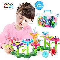 ToyVelt 花朵玩具 - 幼儿女孩玩具 - 花朵花园建筑玩具 - 女孩花卉布置玩具 - 花园建筑玩具 - 园艺礼物 - 儿童年龄 3、4、5、6、7岁