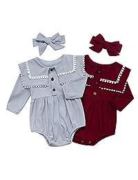 Walsoner 新生女婴衣服绒球流苏衣领连衫裤长袖连身衣套装 0-24 个月