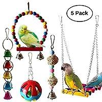Kama Bird 鹦鹉秋千玩具,悬挂栖息,适合鹦鹉、鹦鹉或小型动物鹦鹉梯,5 件装
