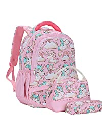 SKL 独角兽背包,粉色女孩书包,儿童书包,3合1背包套装