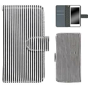 白色坚果条纹手机壳翻盖式 ブラック×ホワイト 15_ HTC J butterfly HTV31