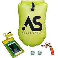 AssetSport 充气游泳浮标 - *游泳浮标,带防水手机外壳,2 个 LED 灯(夜视)和口哨 - 可携带开放水洗 - 可存放个人物品。