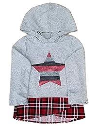 婴幼儿女童灰色和红色格子荷叶边上衣亮片星星连帽衫 2T