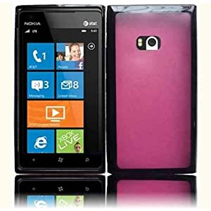 HR Wireless Nokia Lumia 900 PC and TPU Hybrid Protective Cover - Retail Packaging - Black/Hot Pink