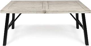 Christopher Knight Home Borocay 户外成品红杉木餐桌,浅灰色水洗 PU/PU/黑色