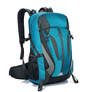 Mountain Backpack 40L Waterproof Hiking Trekking Camping Day-Pack, ZCL Travel Laptop Backpack 天蓝色