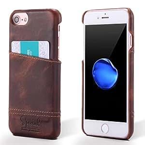 Airdream iPhone7 卡套,真皮钱包保护壳 复古经典 带卡槽插槽 深蓝色