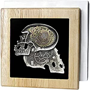 Dooni Designs Steampunk Designs - Steampunk Gothic Faux Metal Skull Image - Tile Napkin Holders 天然 6 ""