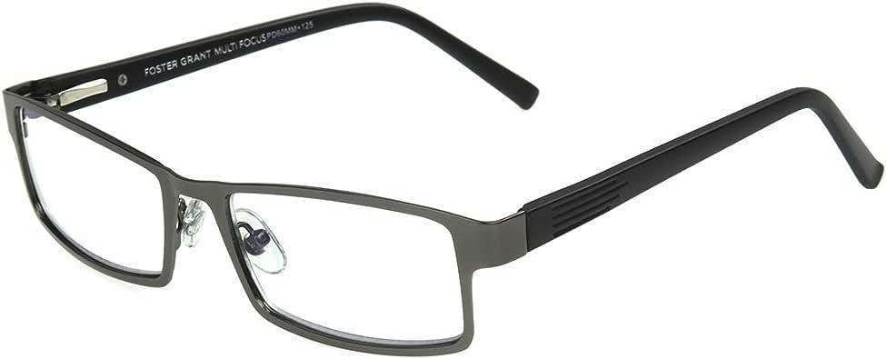 FGX International 男式 Foster Grant Sawyer Gunmetal Multifocus 眼镜 5010359-300.COM 矩形老花镜,哑光深青铜色,3