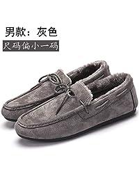冬季豆豆鞋女加绒2018新款韩版百搭毛毛鞋一脚蹬平跟保暖女棉鞋子黑色(女) 35