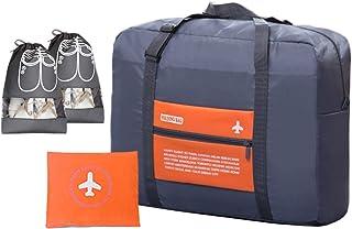 IBLUE 大号可折叠行李袋旅行轻质尼龙周末过夜包带行李袋鞋袋,D1082 橙色