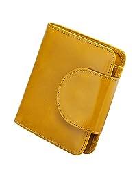 ON SALE - S-ZONE 短真皮小钱包女士紧凑卡包带照片插槽